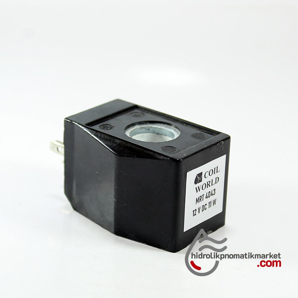 MRT4043 Pnömatik Valf Ventil Bobin 12V DC İç Çap 13,5mm x Boy 31,5mm - DIN 43650 Soket Bobin