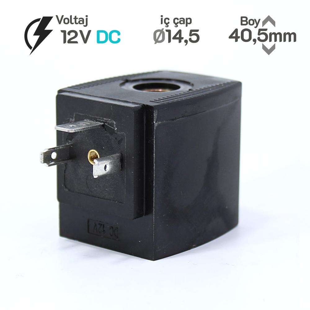 MRT4045 Pnömatik Valf Bobin 12V DC İç Çap 14,5mm x Boy 40,5mm - DIN 43650 Soket Bobin