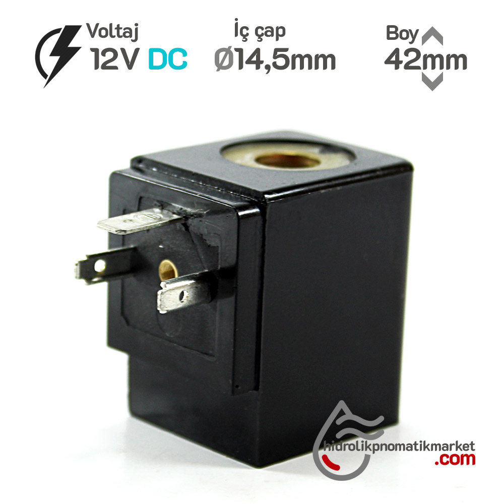 MRT4048 Pnömatik Valf Ventil Bobin 12V DC İç Çap 14,5mm x Boy 42mm - DIN 43650 Soket Bobin
