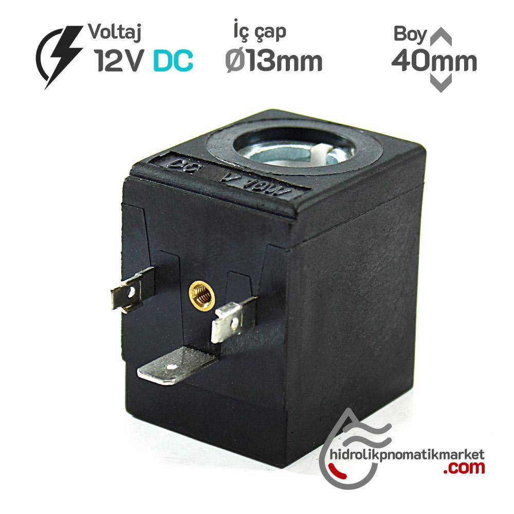 MRT4152 12V DC Pnömatik Valf Bobini İç Çap 13mm x Boy 40mm - DIN 43650 Soket Bobin