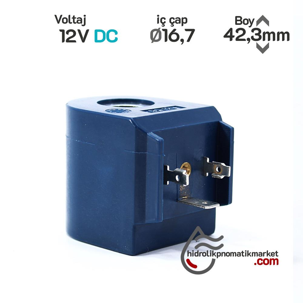 MRT4186 Pnömatik Valf Bobin 12V dC İç Çap 16,7mm x Boy 42,3mm - DIN 43650 Soket Bobin