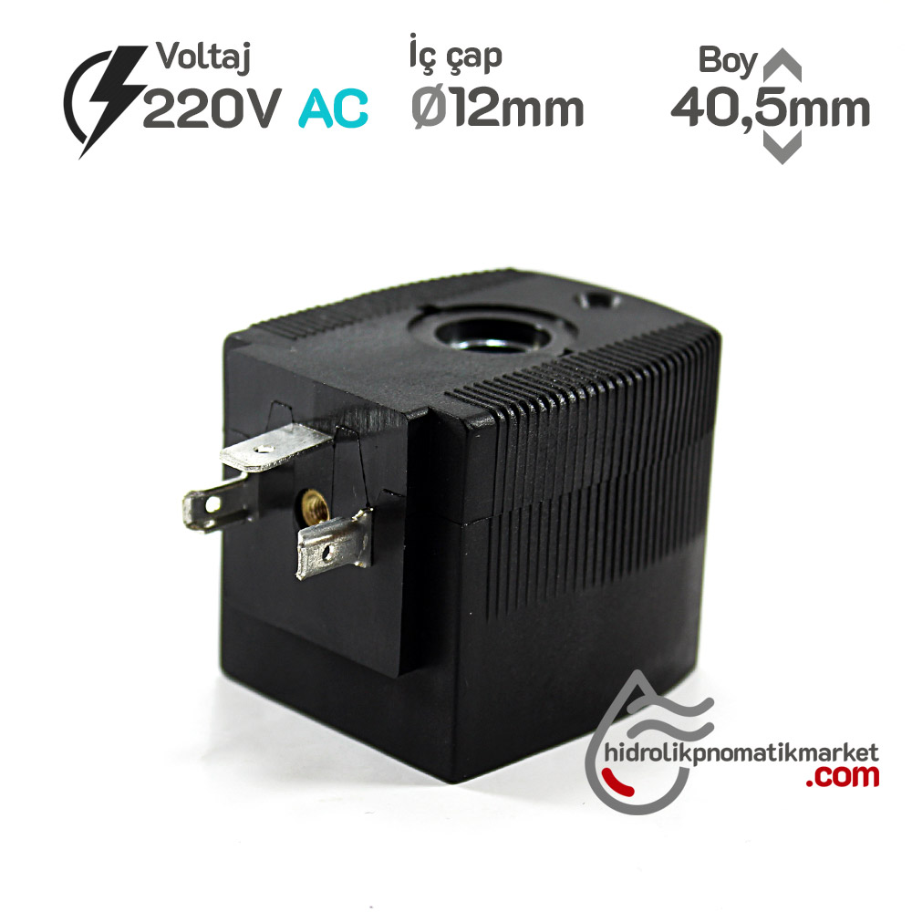 MRT4005 Pnömatik Valf Bobin 220V AC İç Çap 12mm x Boy 40,5mm - DIN 43650 Soket Bobin