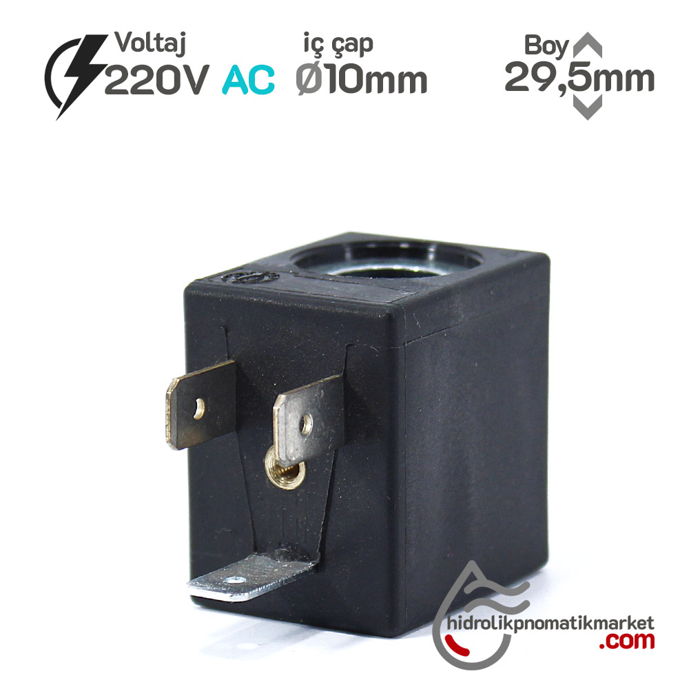 MRT 4010-1 Pnömatik Valf Bobin 220V AC İç Çap 10mm x Boy 29,5mm - DIN 43650 Soket Bobin