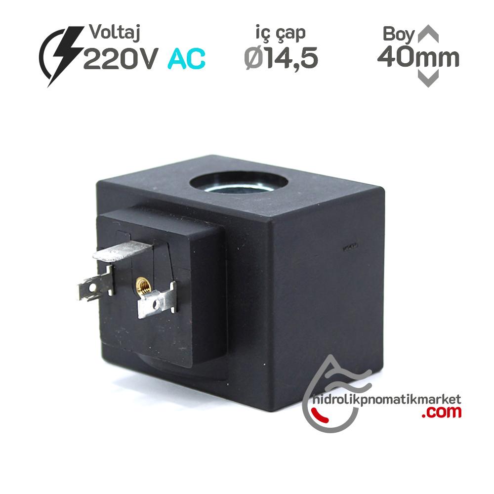 MRT4020 Pnömatik Valf Bobin 220V AC İç Çap 14,5mm x Boy 40mm - DIN 43650 Soket Bobin