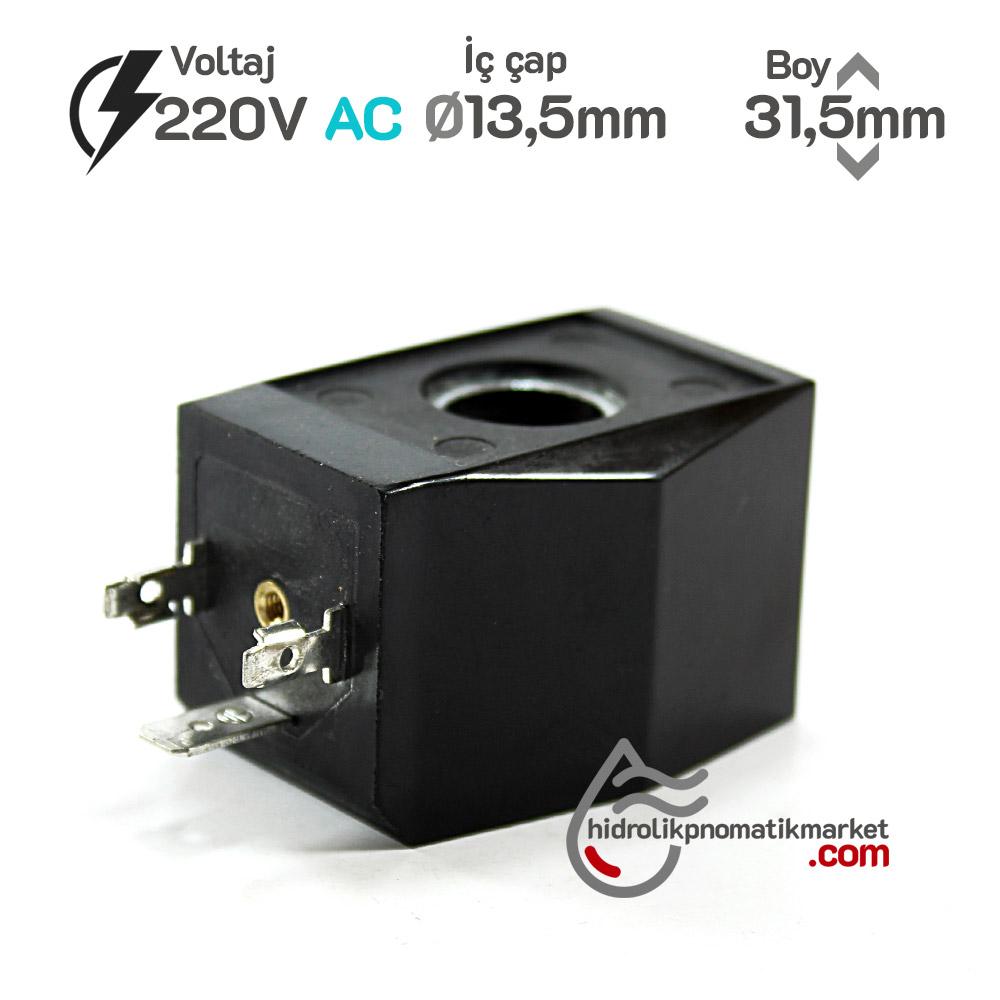 MRT4043 Pnömatik Valf Ventil Bobin 220V AC İç Çap 13,5mm x Boy 31,5mm - DIN 43650 Soket Bobin
