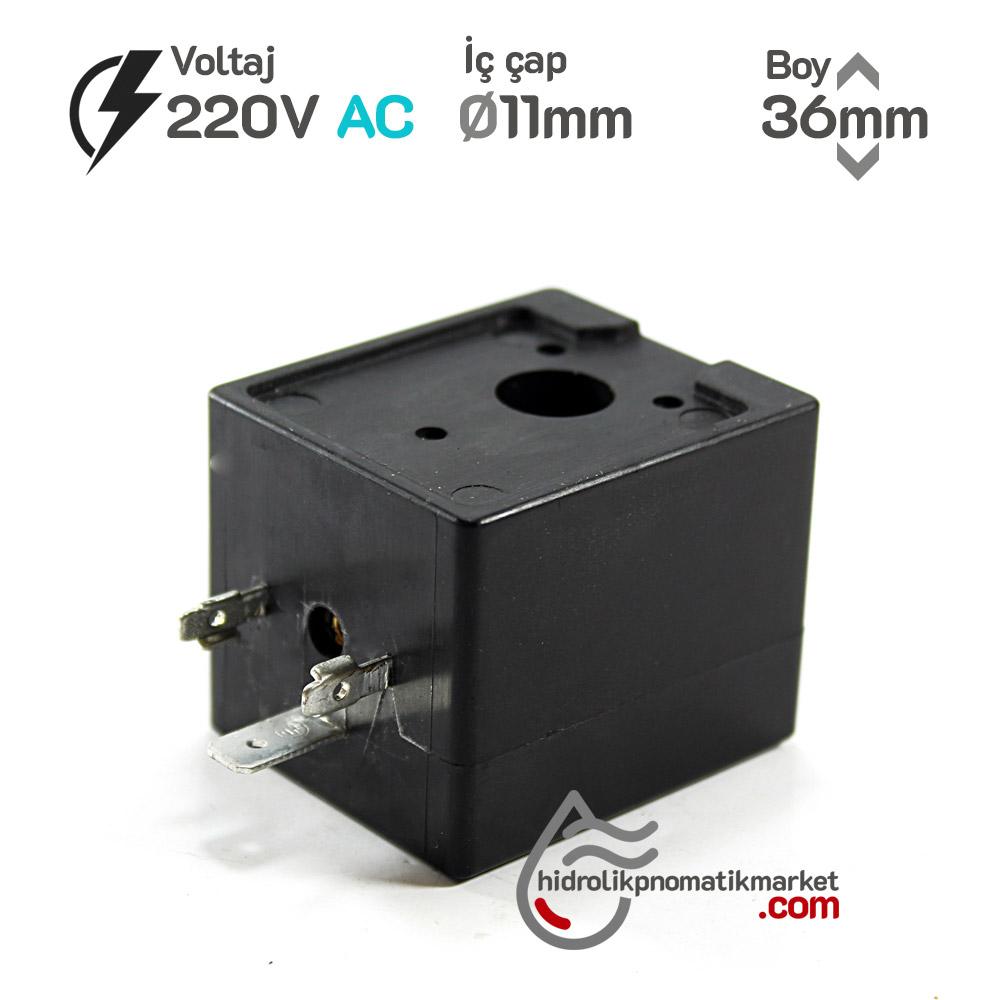 MRT4046 Pnömatik Valf Ventil Bobin 220V AC İç Çap 11mm x Boy 36mm - DIN 43650 Soket Bobin