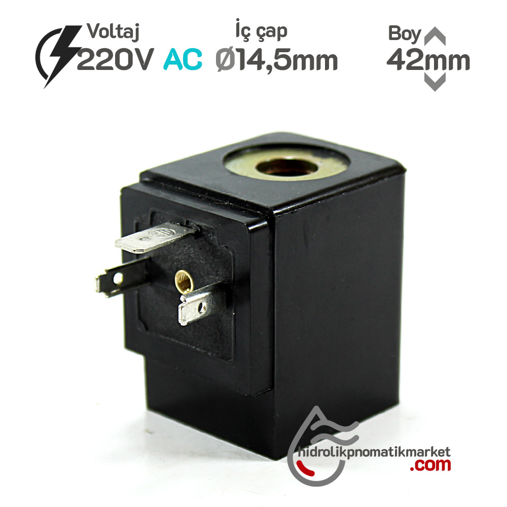 MRT 4048 Pnömatik Valf Ventil Bobin 220V AC İç Çap 14,5mm x Boy 42mm - DIN 43650 Soket Bobin