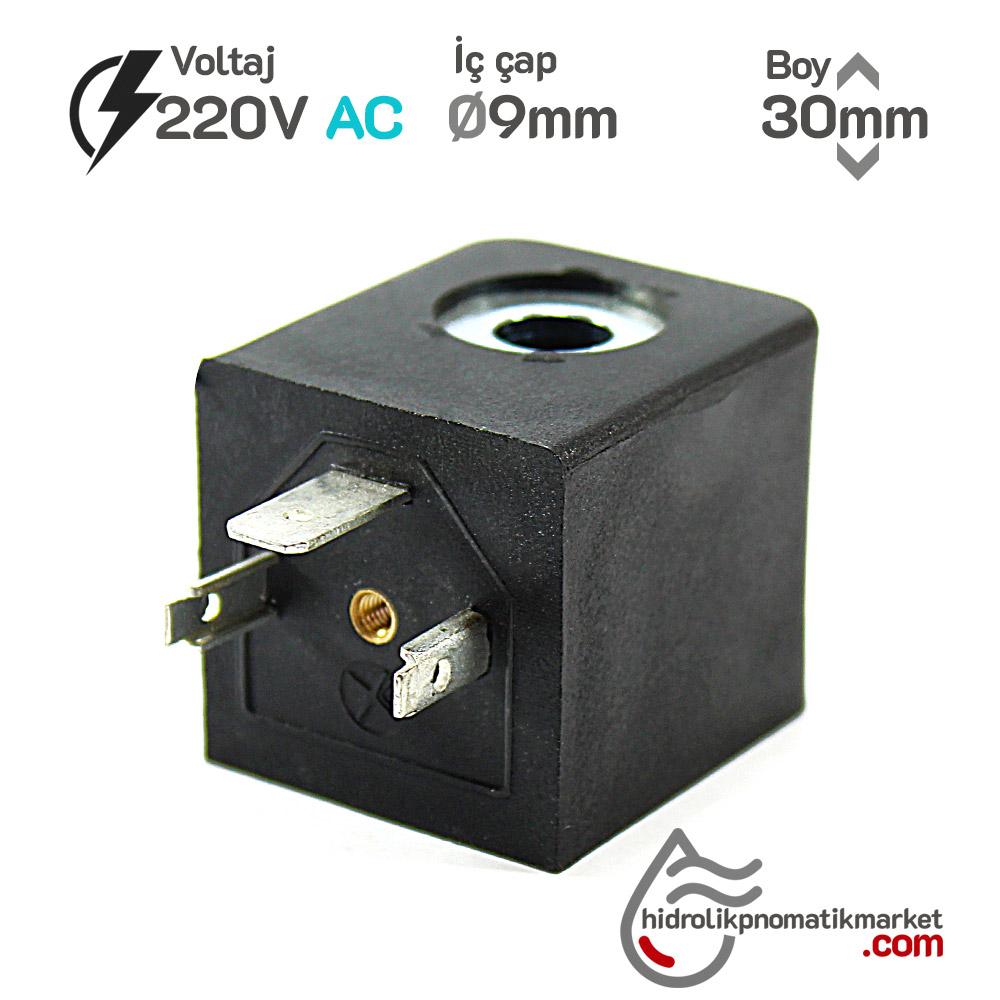 MRT4130 Pnömatik Hava Ventil Valf Bobini 220V AC İç Çap 9mm x Boy 30mm - DIN 43650 Soket Bobin
