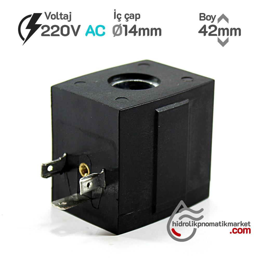 MRT 4446 220V AC Pnömatik Valf Bobini İç Çap 14mm x Boy 42mm - DIN 43650