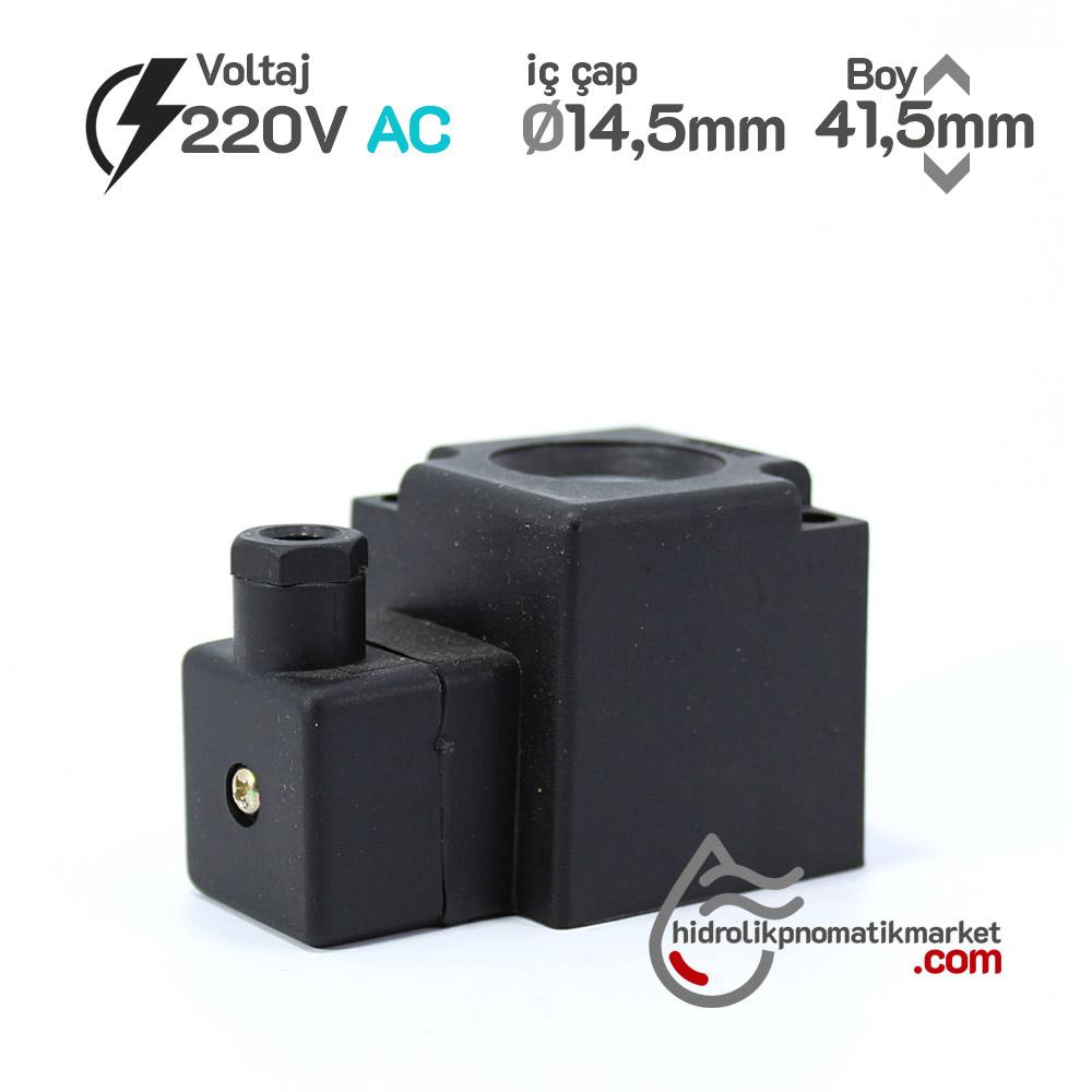 MRT 4466 Pnömatik Valf Bobin 220V AC İç Çap 14,5mm x Boy 41,5mm - DIN 43650 Soket Bobin