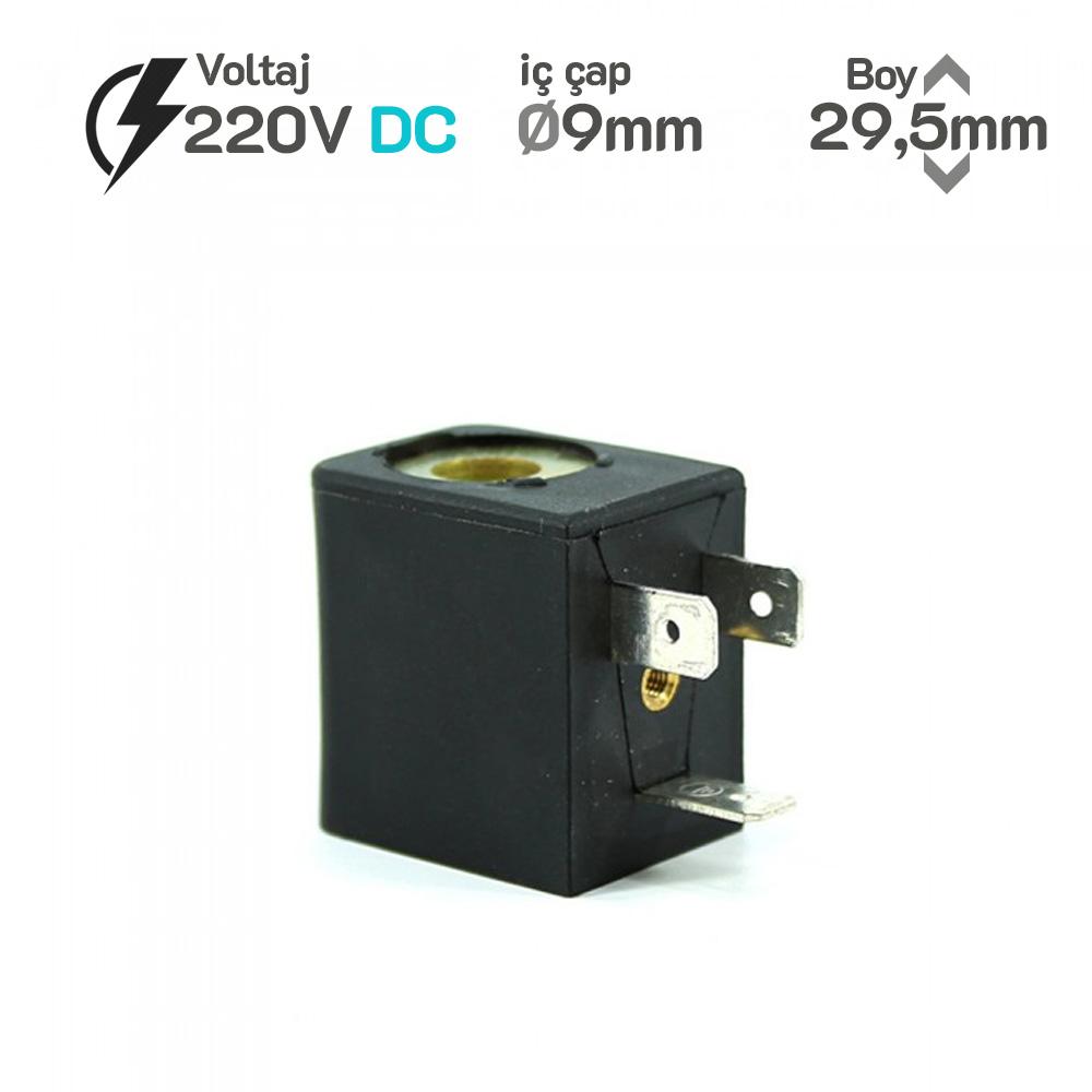 MRT4006 Pnömatik Valf Bobin 220V DC İç Çap 9mm x Boy 29,5mm - DIN 43650 Soket Bobin jelp crox