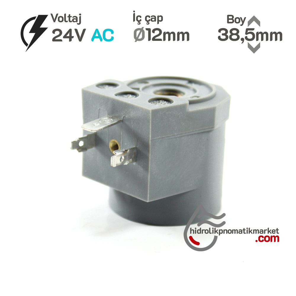 MRT4017 Pnömatik Valf Ventil Bobin 24V AC İç Çap 12mm x Boy 38,5mm - DIN 43650 Soket Bobin
