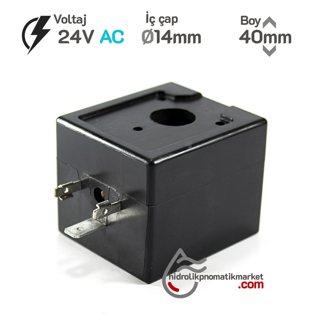 MRT4047 Pnömatik Valf Ventil Bobini 24V AC İç Çap 14mm x Boy 40mm - DIN 43650 Soket Bobin