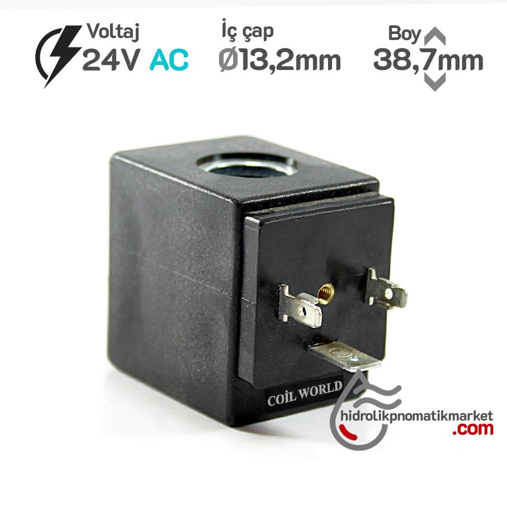 MRT 4393 24V AC Pnömatik Valf Bobini İç Çap 13,2mm x Boy 38,7mm - DIN 43650