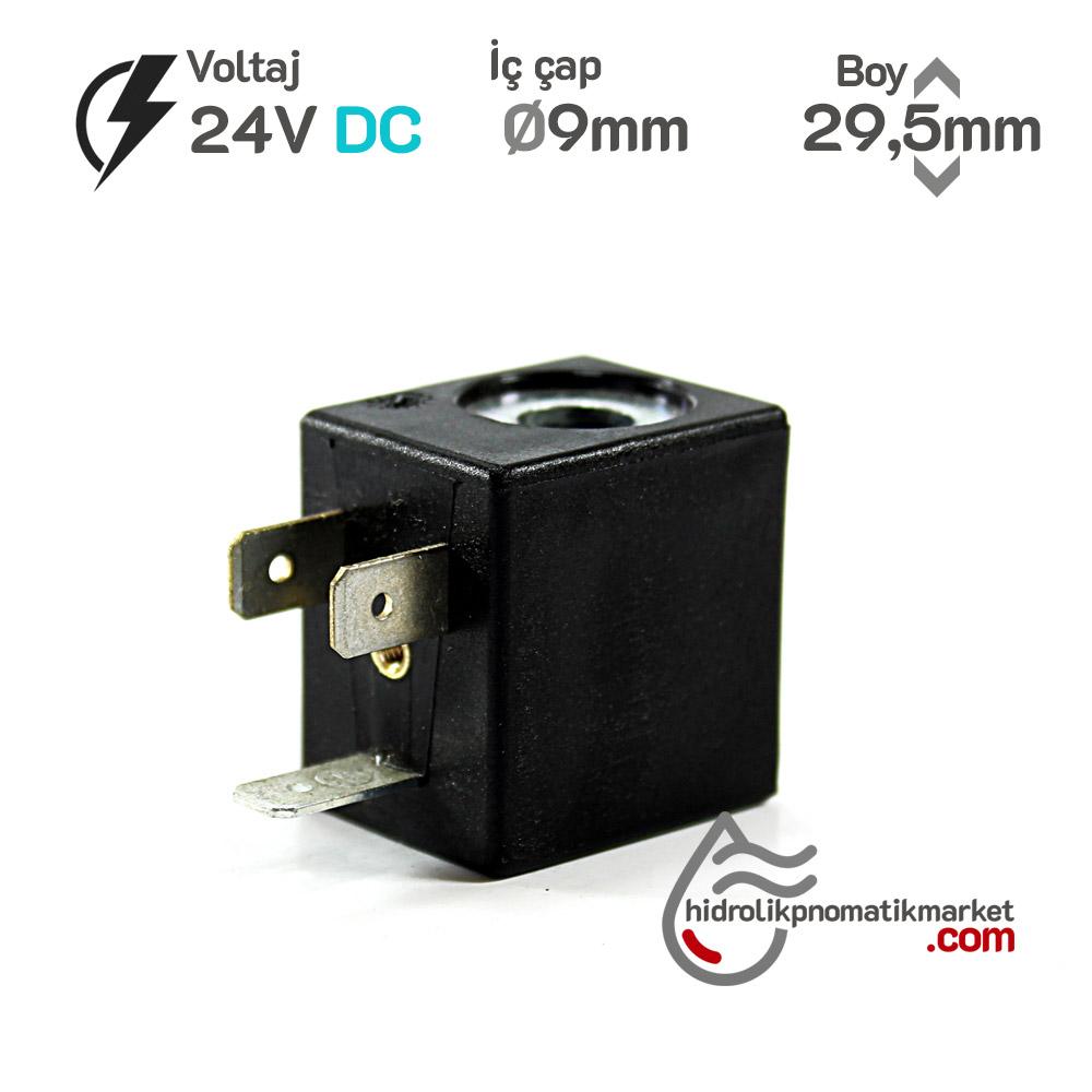 MRT4006-1 Pnömatik Valf Bobin 24V DC İç Çap 9mm x Boy 29,5mm - DIN 43650 Soket Bobin