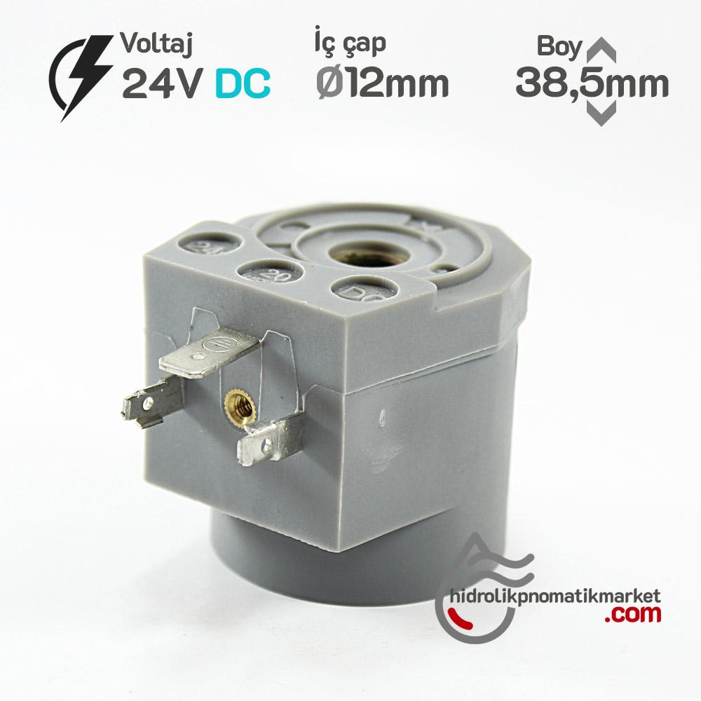 MRT4017 Pnömatik Valf Ventil Bobin 24V DC İç Çap 12mm x Boy 38,5mm - DIN 43650 Soket Bobin