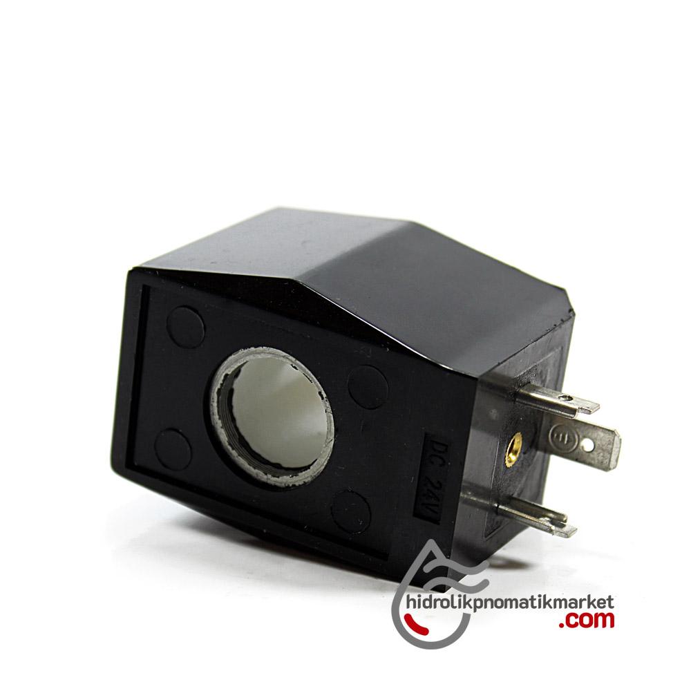 MRT4044 Pnömatik Valf Ventil Bobin 24V DC İç Çap 16mm x Boy 39mm - DIN 43650 Soket Bobin