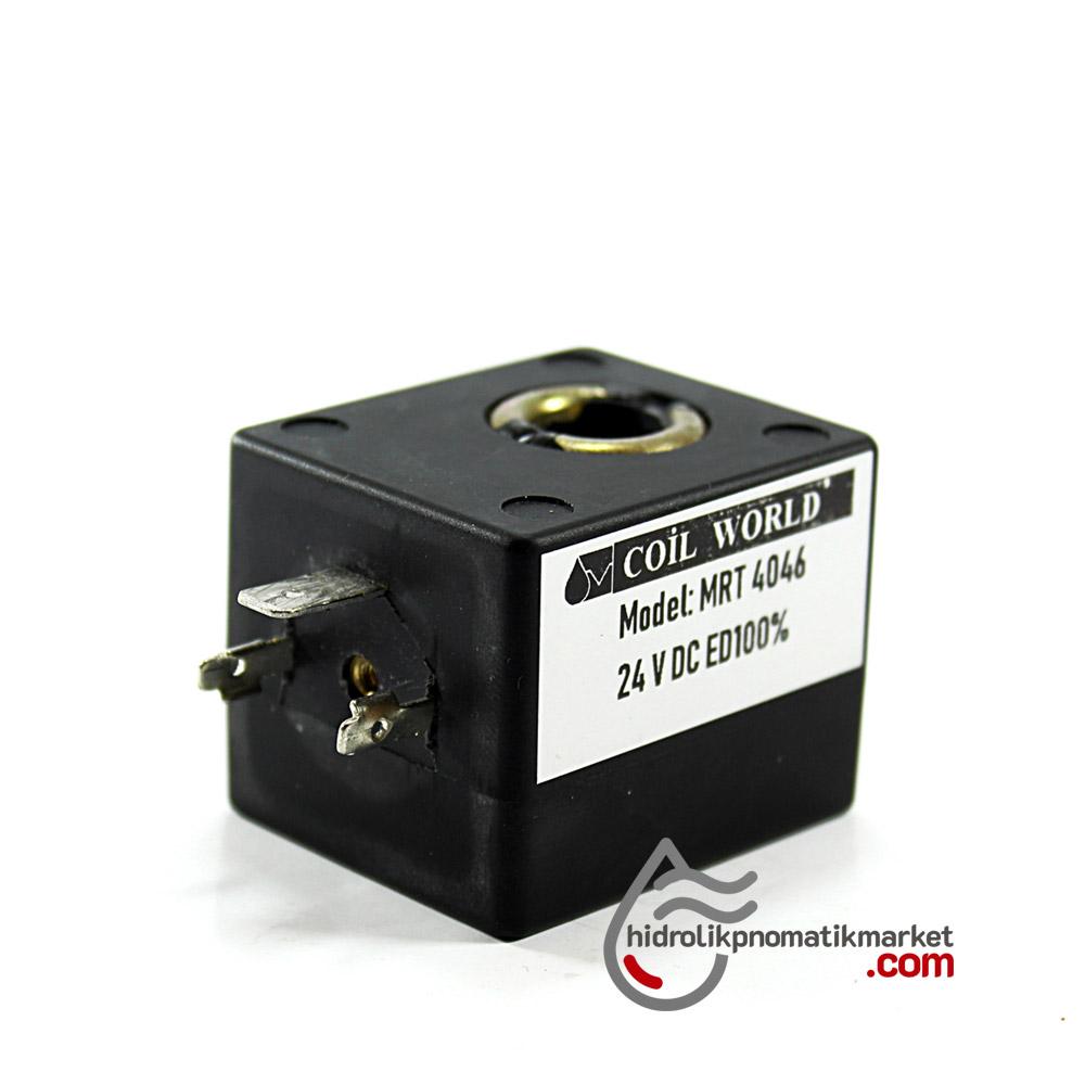 MRT4046 Pnömatik Valf Ventil Bobin 24V DC İç Çap 11mm x Boy 36mm - DIN 43650 Soket Bobin