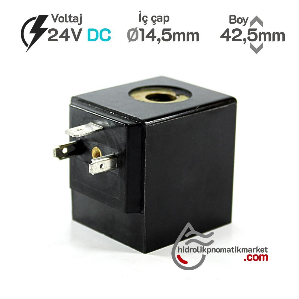 MRT4049 Pnömatik Hava Ventil Valf Bobini 24V DC İç Çap 14,5mm x Boy 42,5mm - DIN 43650 Soket Bobin