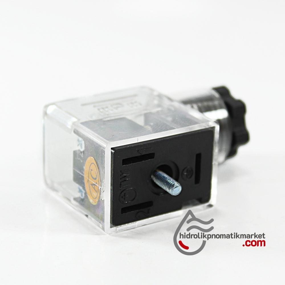 Hidrolik ve Pnömatik Bobin Soketi 110V-220V AC Ledli Dar Tip 43650  Mrt 9002