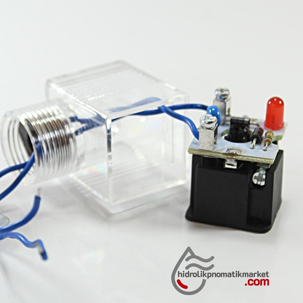 220V RAC Bobin ve Valf Enerji Bağlantı Soketi Ledli DIN 43650 Geniş Tip Mrt 9005