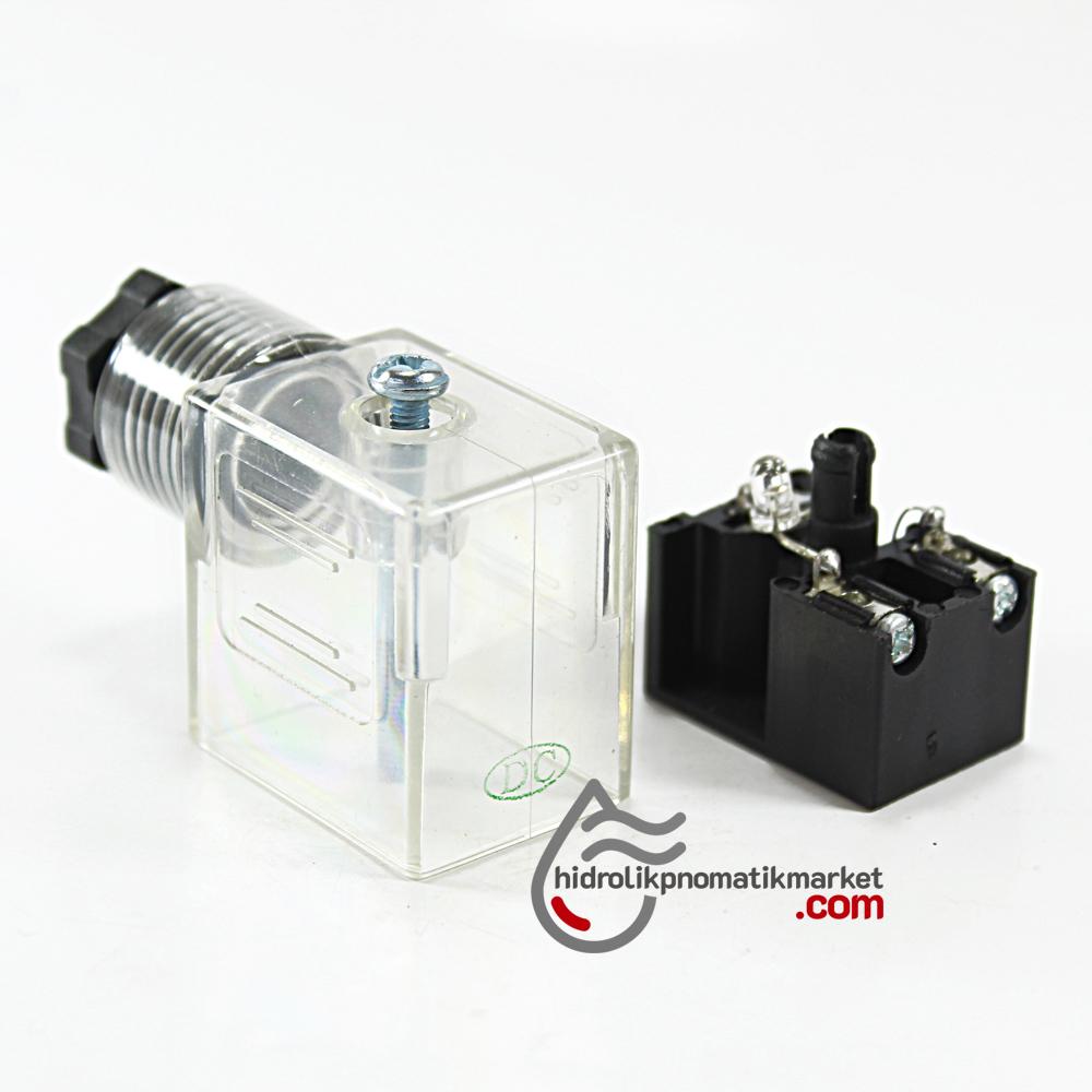 12-24V DC Pnömatik Bobin ve Valf Enerji Bağlantı Soketi Ledli DIN 43650 Dar Tip Mrt 9002