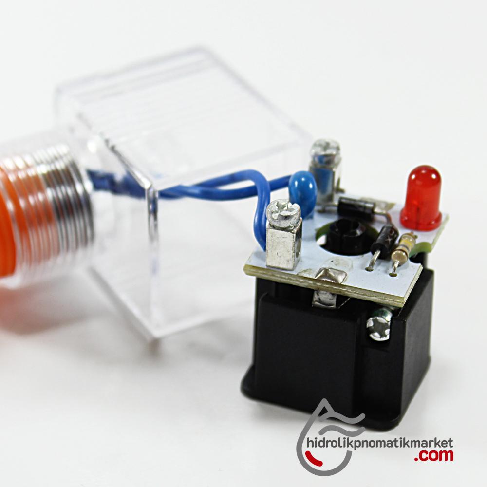110V RAC Bobin ve Valf Enerji Bağlantı Soketi Ledli DIN 43650 Geniş Tip Mrt 9005
