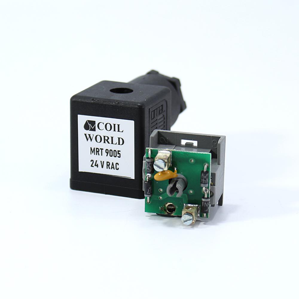 Coil World 24V RAC Hidrolik ve Pnömatik Bobin Enerji Bağlantı Soketi Mrt 9005 IŞIKSIZ