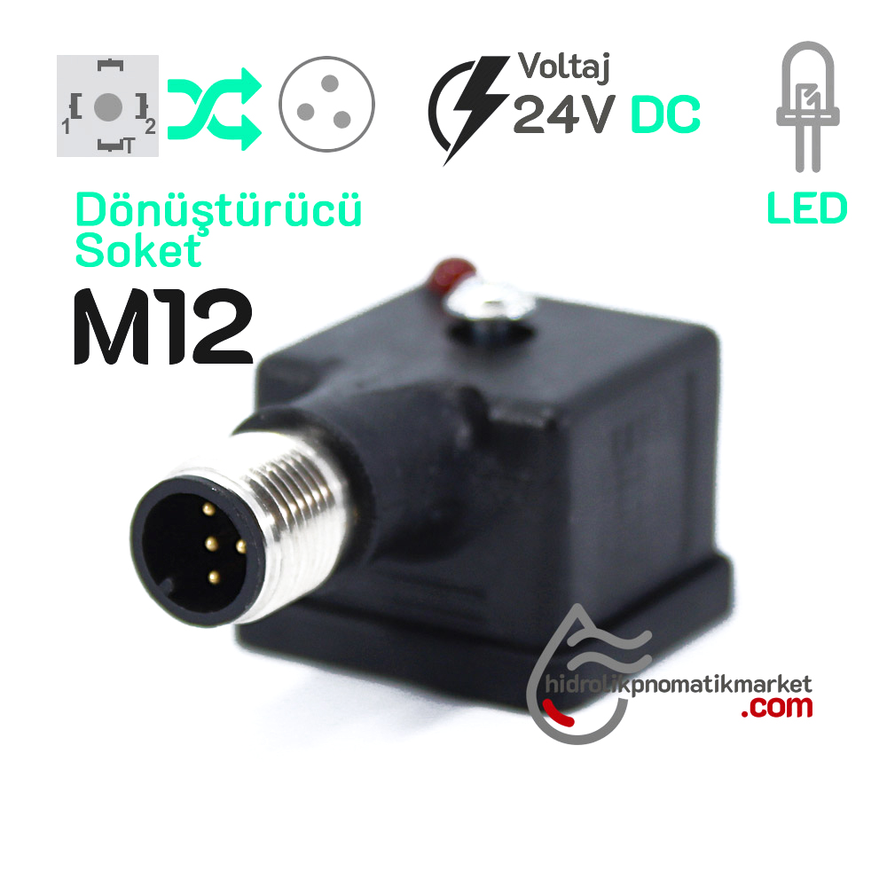 24V M12 Soket Dönüştürücü Coil World 24V M12 3Pinli Soket Dönüştürücü Mrt 9015 Ledli