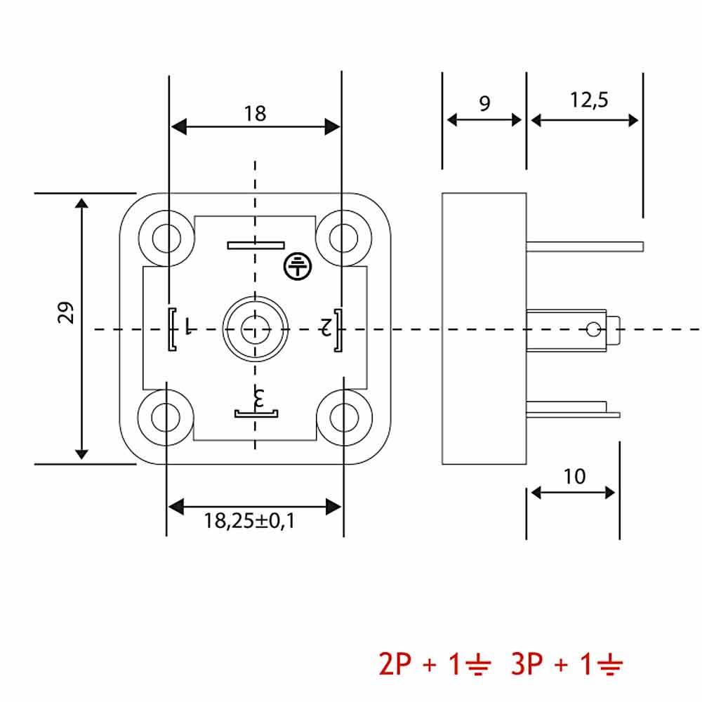 Bobin Soketi A02 A03 Bobin Bağlantı Soketi Baza (Bases) 4pimli Geniş Tip DIN43650
