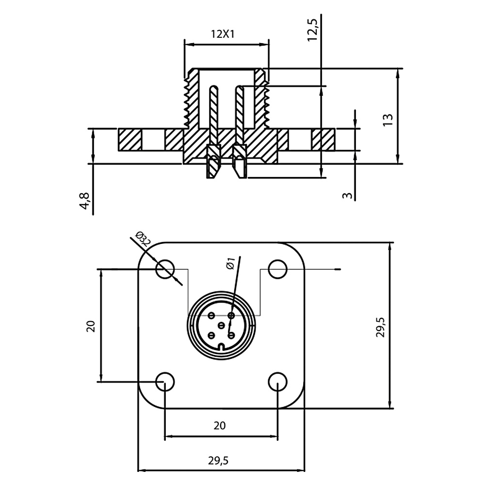 Bobin Soketi AM12 M5 Bobin Bağlantı Soketi Baza Bases 4 Pimli Mrt 9016