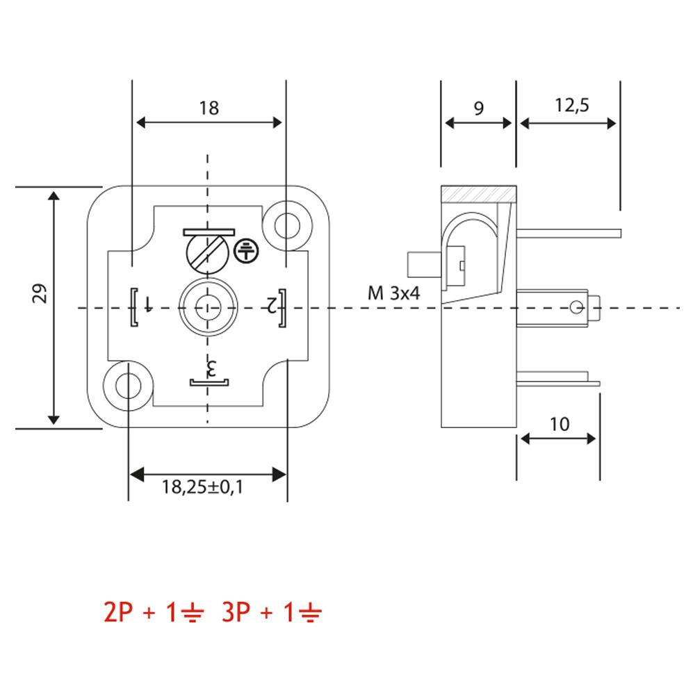 Bobin Soketi AV02 2F - AV03 2F Bobin Bağlantı Soketi Baza Bases 4pimli Geniş Tip DIN43650