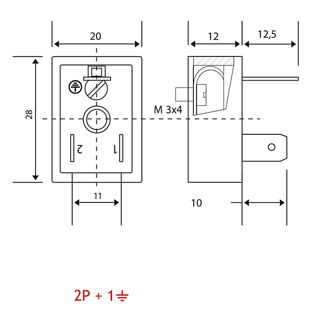 BV02 Bobin Soketi AC-DC Bobin Bağlantı Soketi Baza Bases 3pimli Geniş Tip DIN43650 Mrt 9009