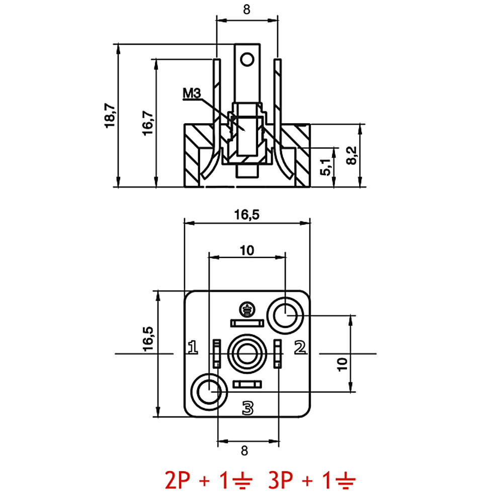 8mm Hidrolik Pnömatik Bobin Bağlantı Soketi C06 C06 Baza Bases 4pimli Dar Tip  Mrt 9011