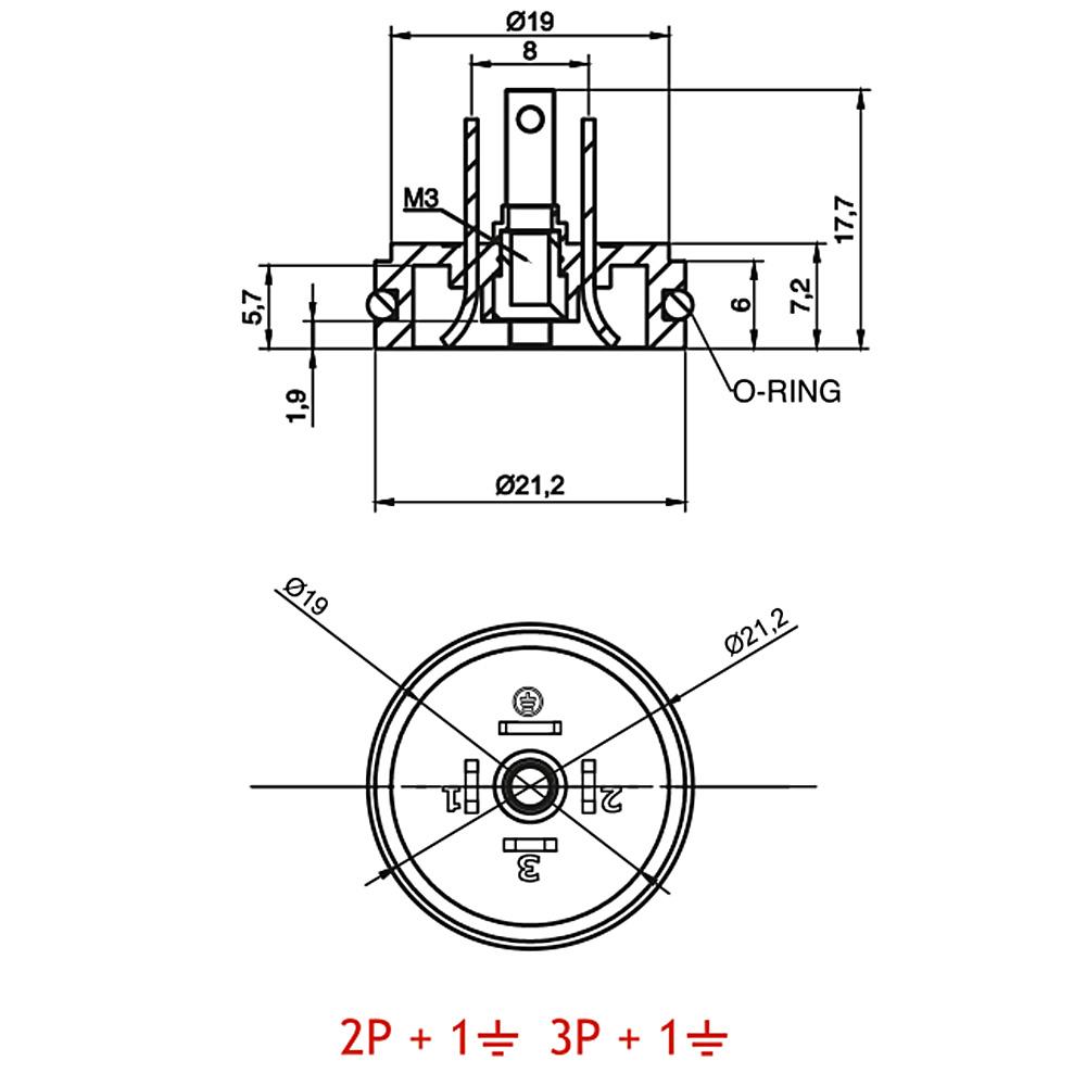 8mm Hidrolik Pnömatik Bobin Bağlantı Soketi CR06OR - CR07OR Baza Bases 4pimli Dar Tip Mrt 9011