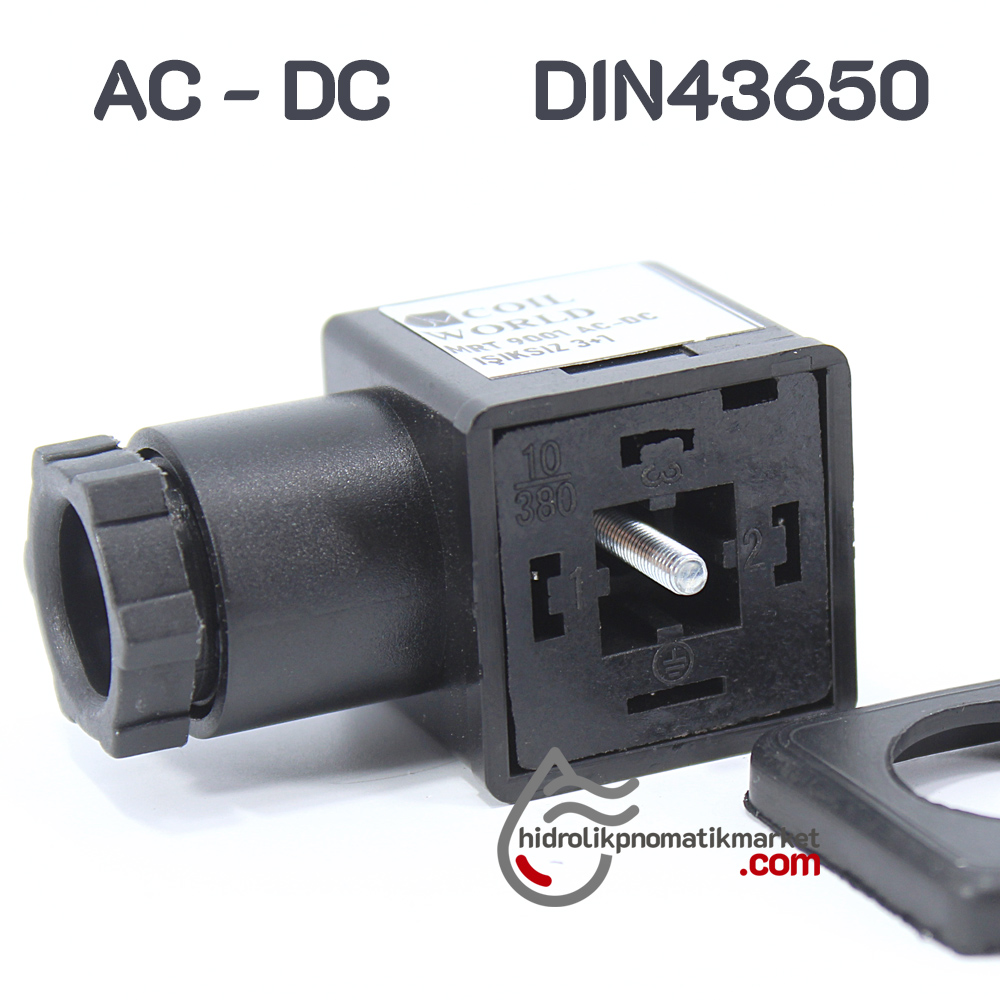 Coil World Hidrolik ve Pnömatik Bobin Enerji Bağlantı Soketi AC - DC 3+1 IşıksıZ Mrt  9001