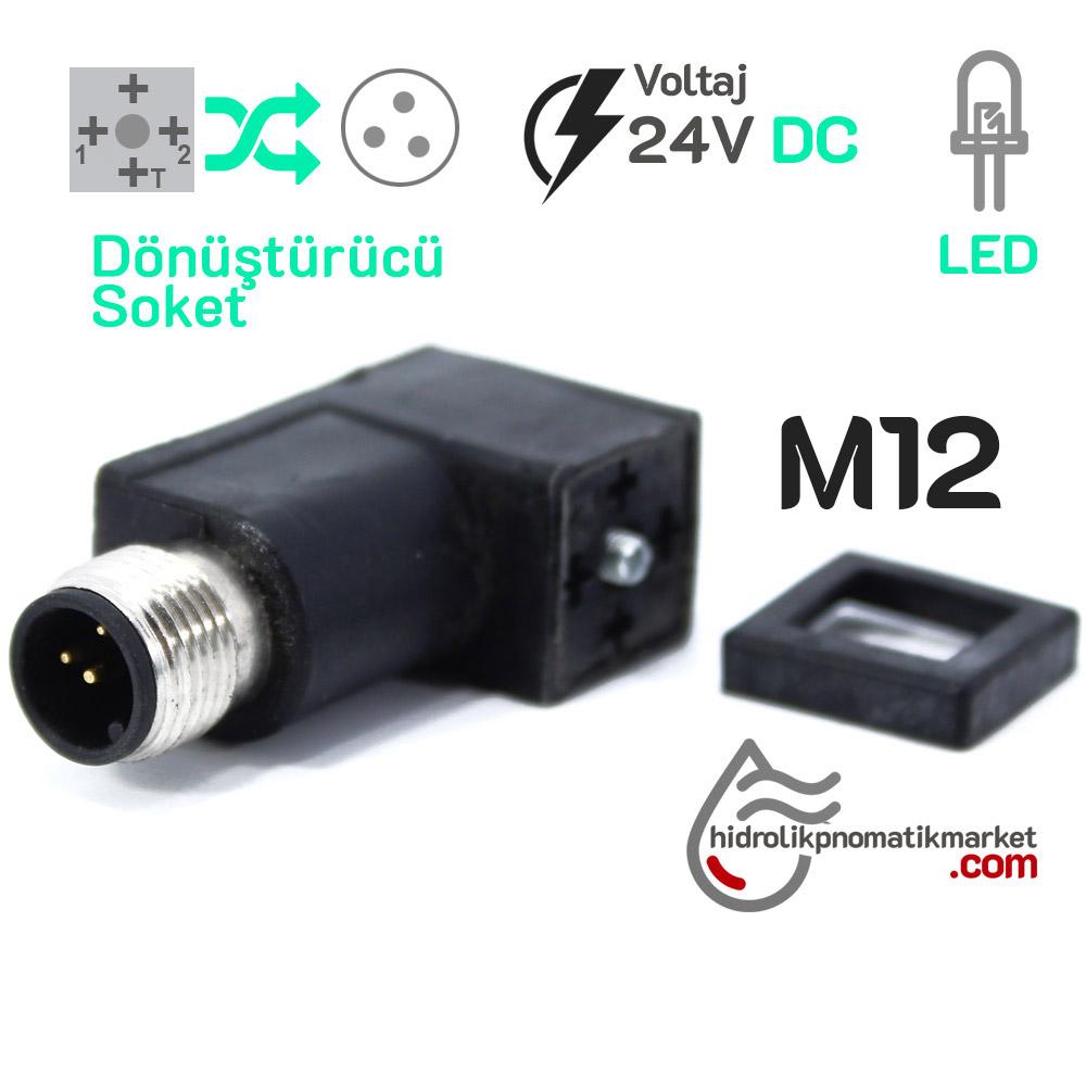 M12 Soket Dönüştürücü Coil World 24V M12 3Pinli Soket Dönüştürücü Mrt 9014 Ledli